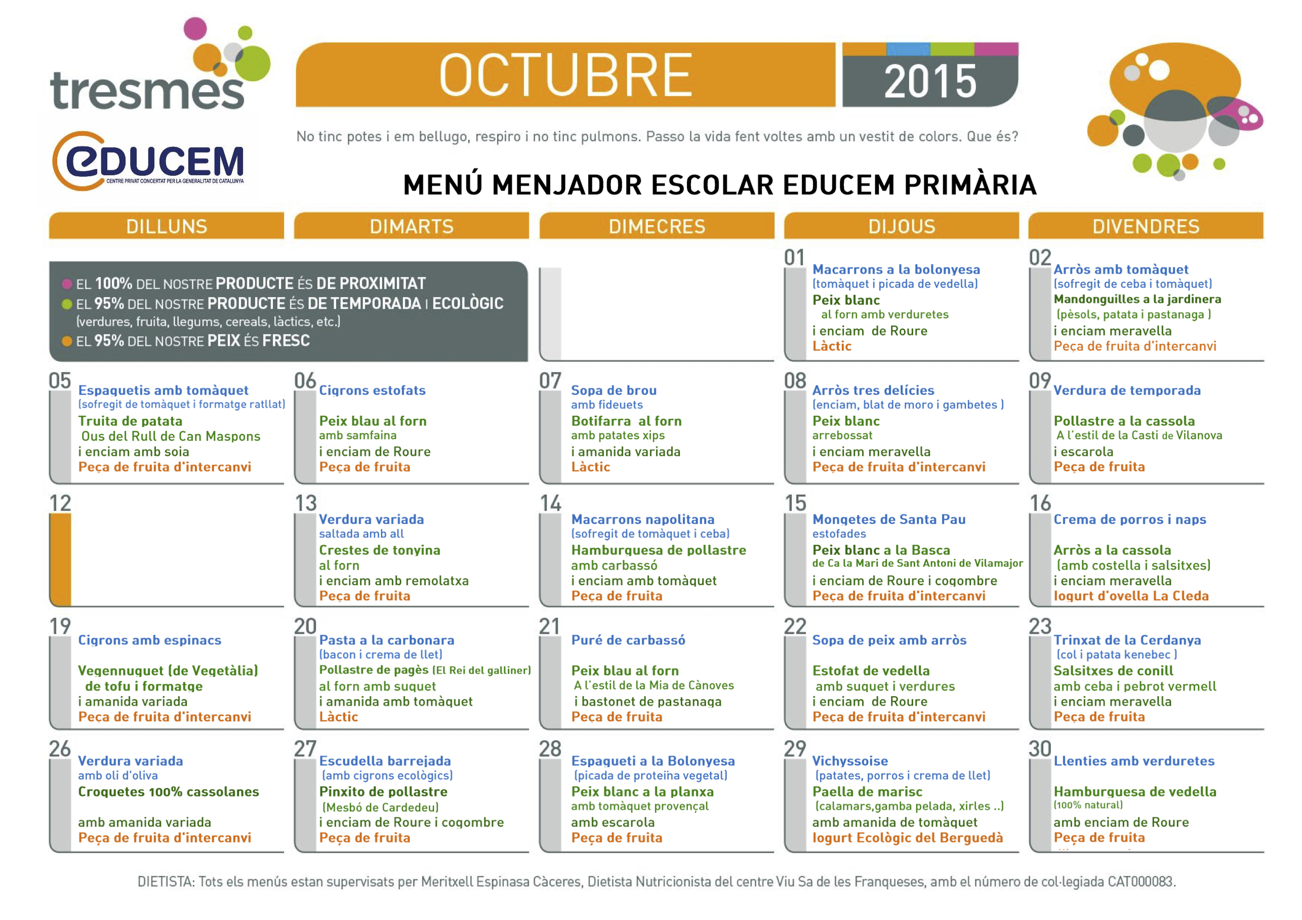 Menú octubre 2015
